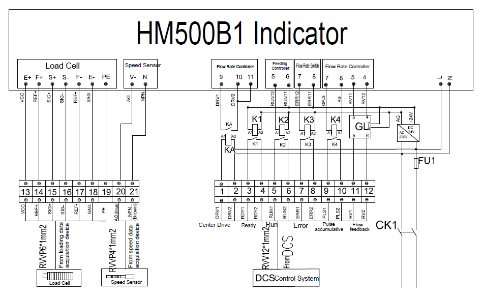 hm500b1 weighing indicator electrical diagram wiring for belt scale and weigh feeder belt scale